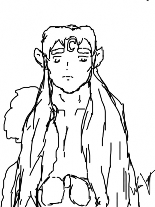 Bare Chested Sesshomaru Line Art