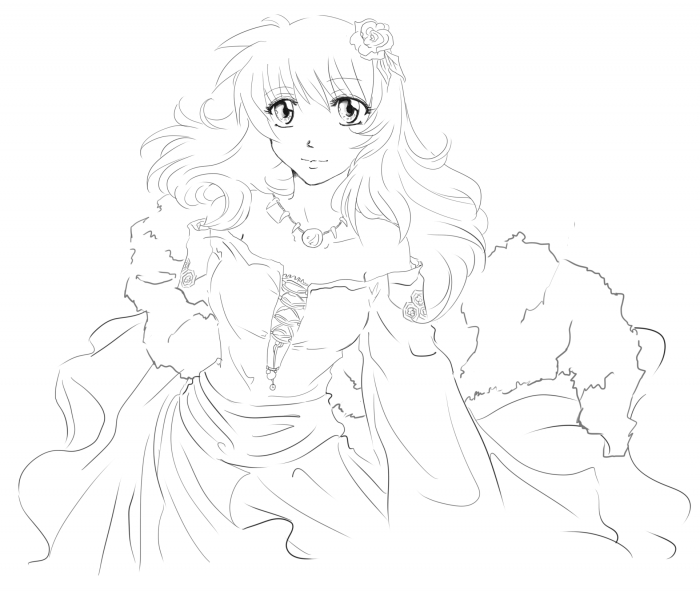 Princess Kagome - Lineart