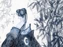 Ink: Bamboo Kimono ~ Blue Wallpaper 1024x768