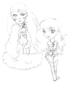 Chibi Sess and warrior Kagome