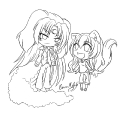 Puppies love Kitties -lineart-